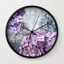 Purple Vintage Flower Hydrangea Hortensia Collage Wall Clock