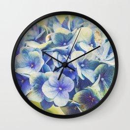 Vintage Blue Hydrangea Wall Clock