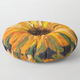 Fiery Sunflower - Original Painting Floor Pillow