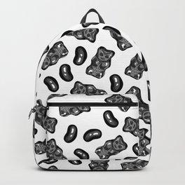 Jelly Beans & Gummy Bears Pattern - black on white Backpack