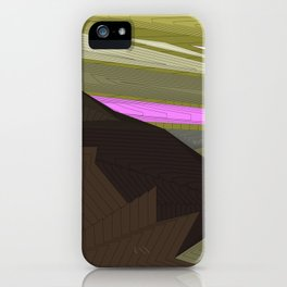 Psychedelic Magic landscap with stylised mountains, sea and red Sun. iPhone Case