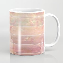 peachy pink distressed stained painted wood board wall Coffee Mug