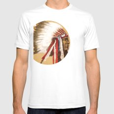 Crow Native American Mens Fitted Tee SMALL White
