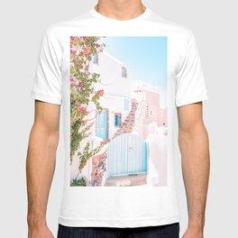 Santorini Greece Mamma Mia Pink House Travel Photography T-shirt