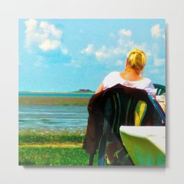 Mary looks out over the see Metal Print