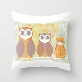 Owls and cat Throw Pillow