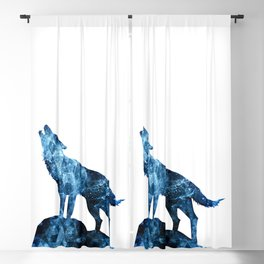 Howling Wolf blue sparkly smoke silhouette Blackout Curtain