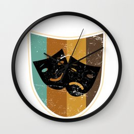 Comedy And Tragedy Masks Wall Clock