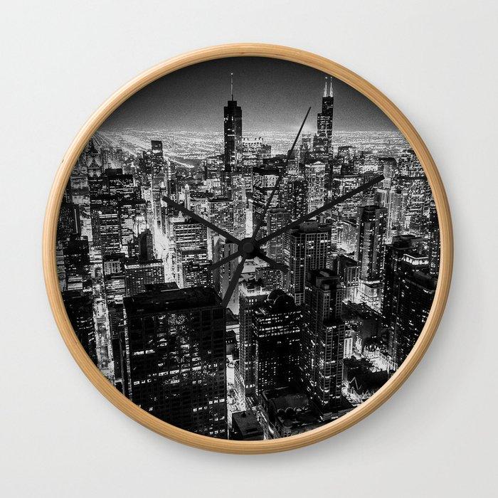 Chicago Skyline at Night Wall Clock