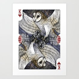 Owl Deck: King of Hearts Art Print