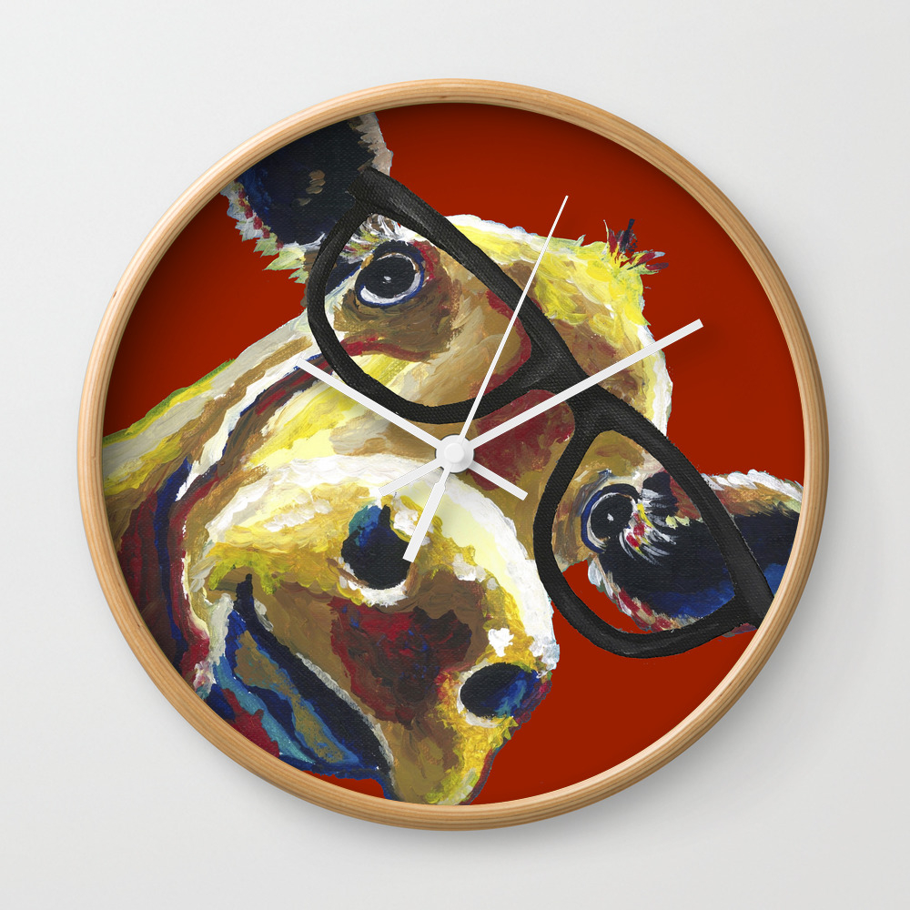 Red Cow Glasses, Cute Cow With Glasses Wall Clock by Leekeller CLK8994311