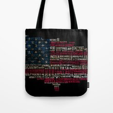 United States Flag Map With Major Cities Tote Bag