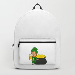 Leprechaun With Beer And Pot Of Gold St Patricks Day Backpack