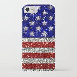 Glitter Sparkle American Flag Pattern iPhone Case