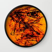 depression Wall Clocks featuring Depression in Charcoal by Abram Freitas