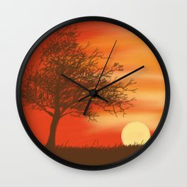 Faded Orange Sunset Wall Clock