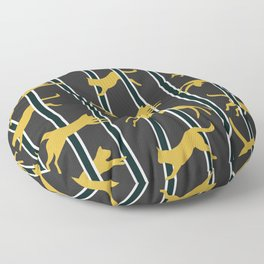 Flying Felines_gold and black Floor Pillow