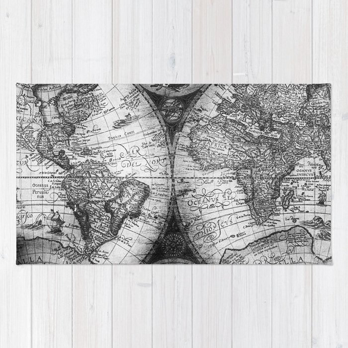 World map antique vintage black and white rug by naturemagick society6 world map antique vintage black and white rug gumiabroncs