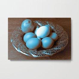 Egg Ginger Lemon blue Metal Print
