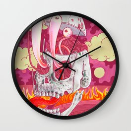 Pink Skel Wall Clock