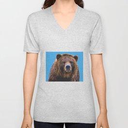 Brown Bear - Blue background Unisex V-Neck