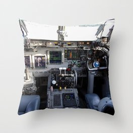This photo shows the cockpit of A Shuttle Training Aircraft (STA) sitting on the Shuttle Landing Fac Throw Pillow