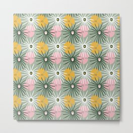 Tropical Foliage Pattern on Sage Green  Metal Print