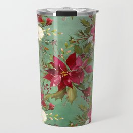 Burgundy red forest green white watercolor Christmas flowers Travel Mug