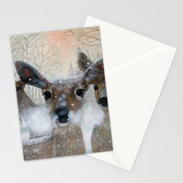 Deer in the Snowy Woods Stationery Cards