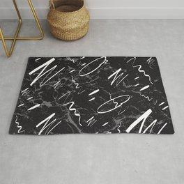 Gray Black Marble White Abstract Glam #1 #trendy #decor #art #society6 Rug