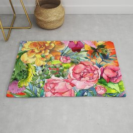 Watercolor Flowers No3 Rug