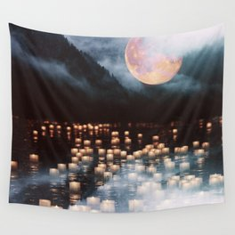Fantasy lake with moonlight Wall Tapestry