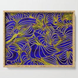 Curves in Yellow & Royal Blue Serving Tray