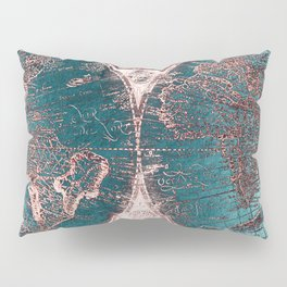 Antique World Map Pink Quartz Teal Blue by Nature Magick Pillow Sham