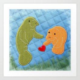Manatee Love Art Print