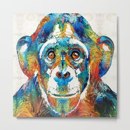Colorful Chimp Art - Monkey Business - By Sharon Cummings Metal Print
