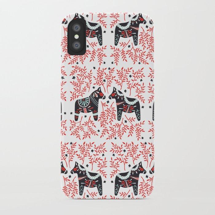 Swedish Dala Horses – Red and Black Palette iPhone Case