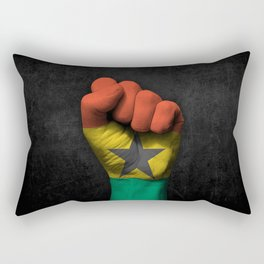 Ghana Flag on a Raised Clenched Fist Rectangular Pillow