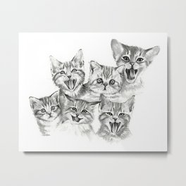 Kittens Pattern Cute Meowing Cats Metal Print
