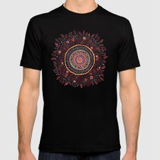 Sunflower Mandala Mens Fitted Tee Black 2X-LARGE
