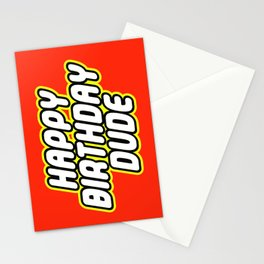HAPPY BIRTHDAY DUDE in Brick Font Logo Design by Chillee Wilson Stationery Cards