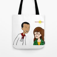 daria Tote Bags featuring Daria meets Andres Bonifacio by Cesar Cueva
