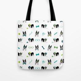 Boston Terriers Pattern Green Tote Bag