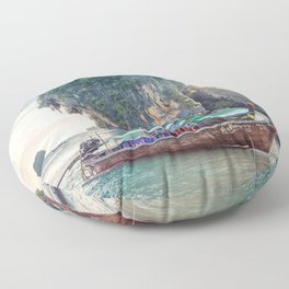 Boat in the sea Floor Pillow