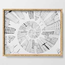 black and white city spiral digital painting Serving Tray
