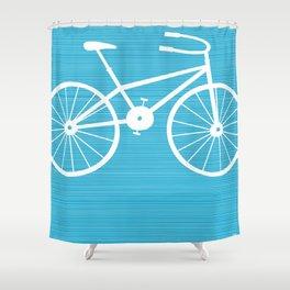 Blue Bike by Friztin Shower Curtain