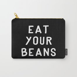 Eat Your Beans - White on Black Carry-All Pouch