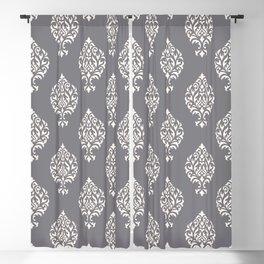 Orna Damask Pattern Cream on Grey Blackout Curtain