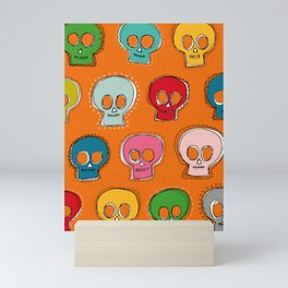 sew skully orange Mini Art Print