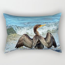 Cormorant Dries off in front of the Sea Rectangular Pillow